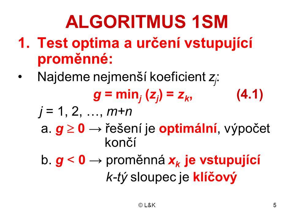 © L&K26 Pro α ik ≤ 0 je podmínka β i - α ik.t ≥ 0 splněna vždy Pro α ik > 0 musí v i-tém omezení platit t ≤ β i / α ik Celkem je tedy hodnota vstupující proměn- né omezena horní hranicí t ≤ min (β i / α ik ) i =1,..., m