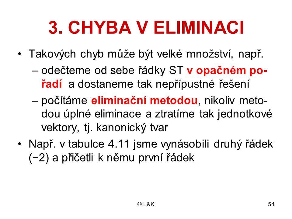 © L&K54 3. CHYBA V ELIMINACI Takových chyb může být velké množství, např. –odečteme od sebe řádky ST v opačném po- řadí a dostaneme tak nepřípustné ře