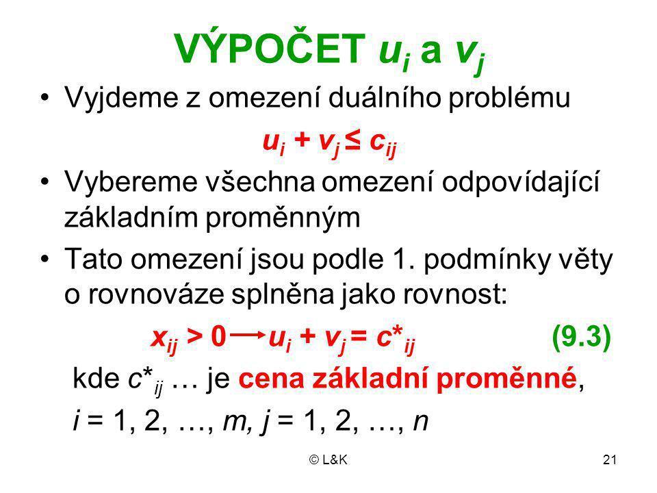 © L&K21 VÝPOČET u i a v j Vyjdeme z omezení duálního problému u i + v j ≤ c ij Vybereme všechna omezení odpovídající základním proměnným Tato omezení jsou podle 1.