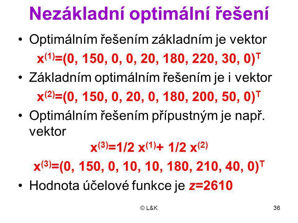 © L&K36 Nezákladní optimální řešení Optimálním řešením základním je vektor x (1) =(0, 150, 0, 0, 20, 180, 220, 30, 0) T Základním optimálním řešením je i vektor x (2) =(0, 150, 0, 20, 0, 180, 200, 50, 0) T Optimálním řešením přípustným je např.