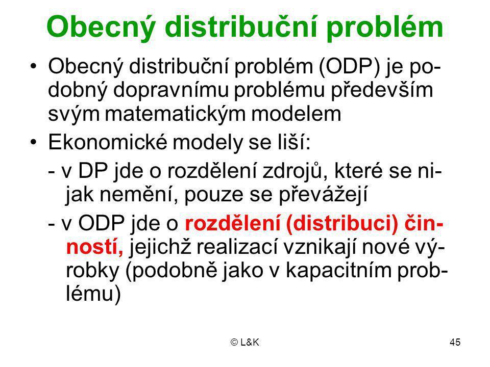 © L&K45 Obecný distribuční problém Obecný distribuční problém (ODP) je po- dobný dopravnímu problému především svým matematickým modelem Ekonomické modely se liší: - v DP jde o rozdělení zdrojů, které se ni- jak nemění, pouze se převážejí - v ODP jde o rozdělení (distribuci) čin- ností, jejichž realizací vznikají nové vý- robky (podobně jako v kapacitním prob- lému)