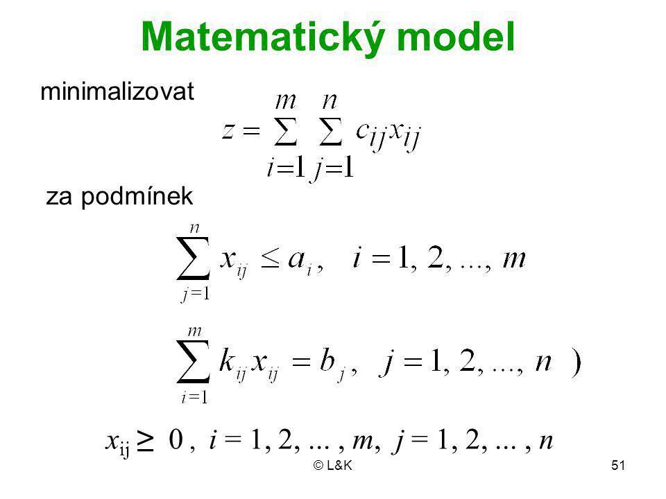 © L&K51 Matematický model minimalizovat x ij ≥ 0, i = 1, 2,..., m, j = 1, 2,..., n za podmínek