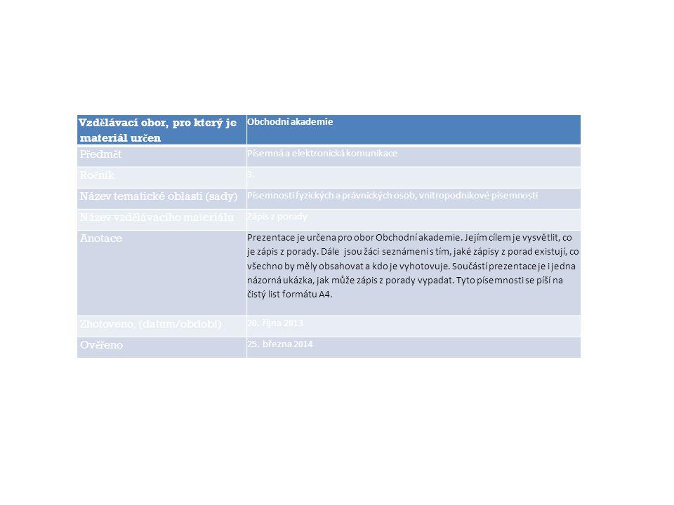 Vzdělávací obor, pro který je materiál určen Obchodní akademie Předmět Písemná a elektronická komunikace Ročník 3. Název tematické oblasti (sady) Píse