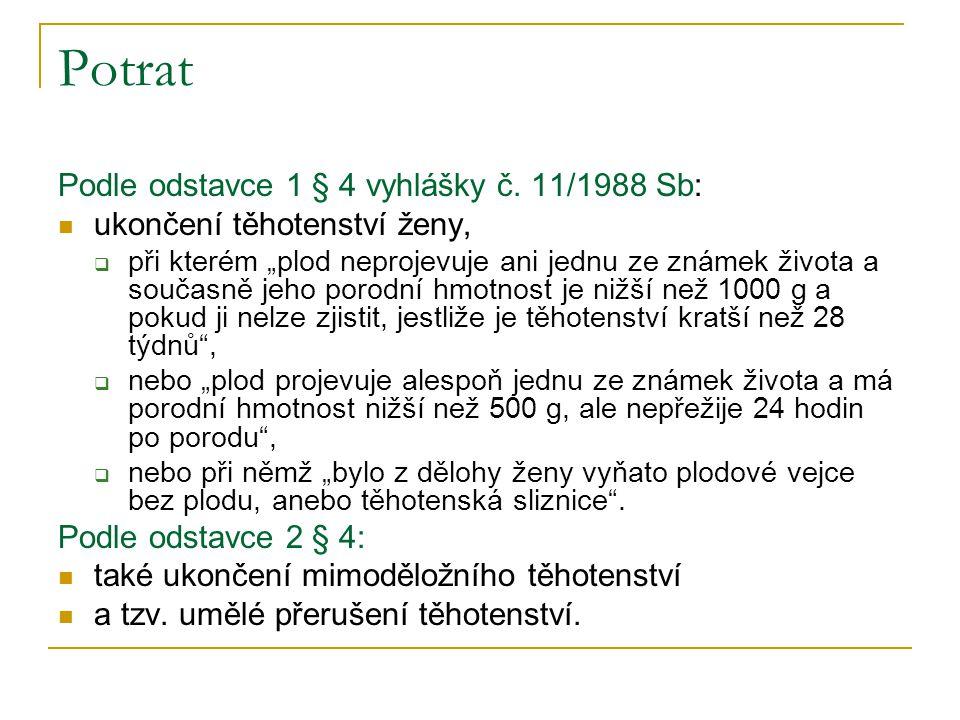 Umělé přerušení těhotenství v České republice prováděno v souladu se zákonem ČNR č.