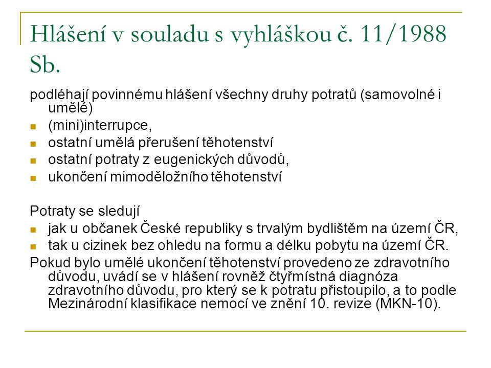 Hlášení v souladu s vyhláškou č. 11/1988 Sb. podléhají povinnému hlášení všechny druhy potratů (samovolné i umělé) (mini)interrupce, ostatní umělá pře