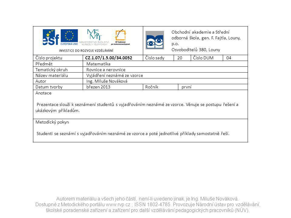 Obchodní akademie a Střední odborná škola, gen. F.