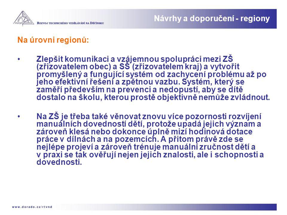 Na úrovni regionů: Zlepšit komunikaci a vzájemnou spolupráci mezi ZŠ (zřizovatelem obec) a SŠ (zřizovatelem kraj) a vytvořit promyšlený a fungující sy