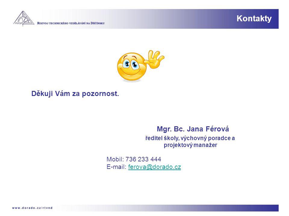Kontakty Děkuji Vám za pozornost. Mgr. Bc. Jana Férová ředitel školy, výchovný poradce a projektový manažer Mobil: 736 233 444 E-mail: ferova@dorado.c