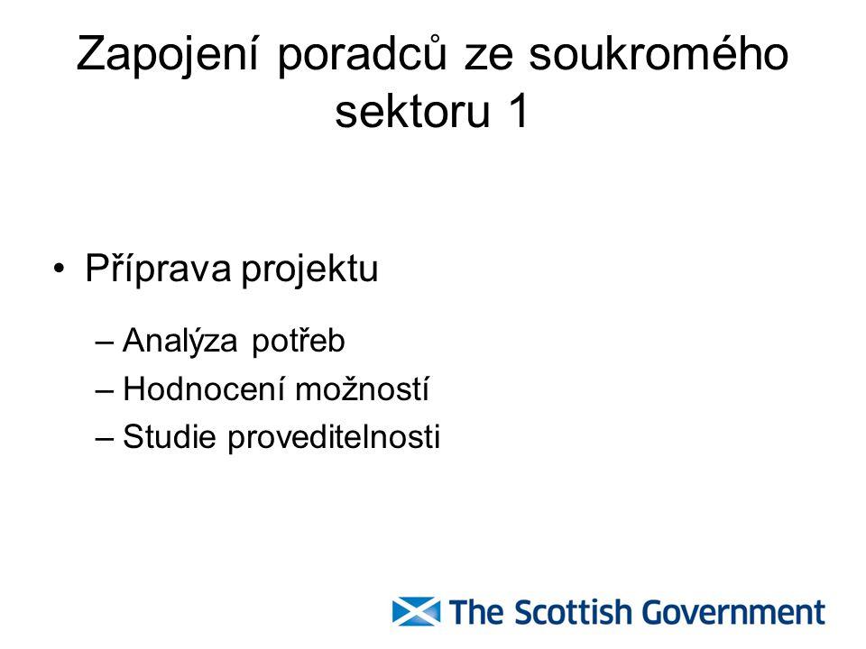 Zapojení poradců ze soukromého sektoru 1 Příprava projektu –Analýza potřeb –Hodnocení možností –Studie proveditelnosti
