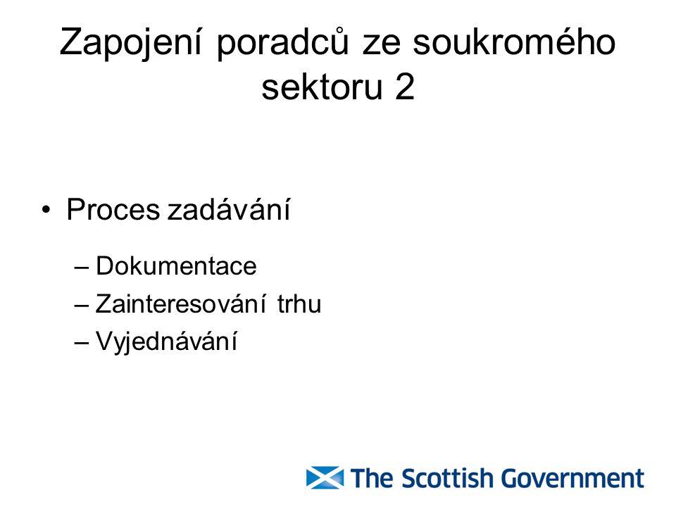 Zapojení poradců ze soukromého sektoru 2 Proces zadávání –Dokumentace –Zainteresování trhu –Vyjednávání