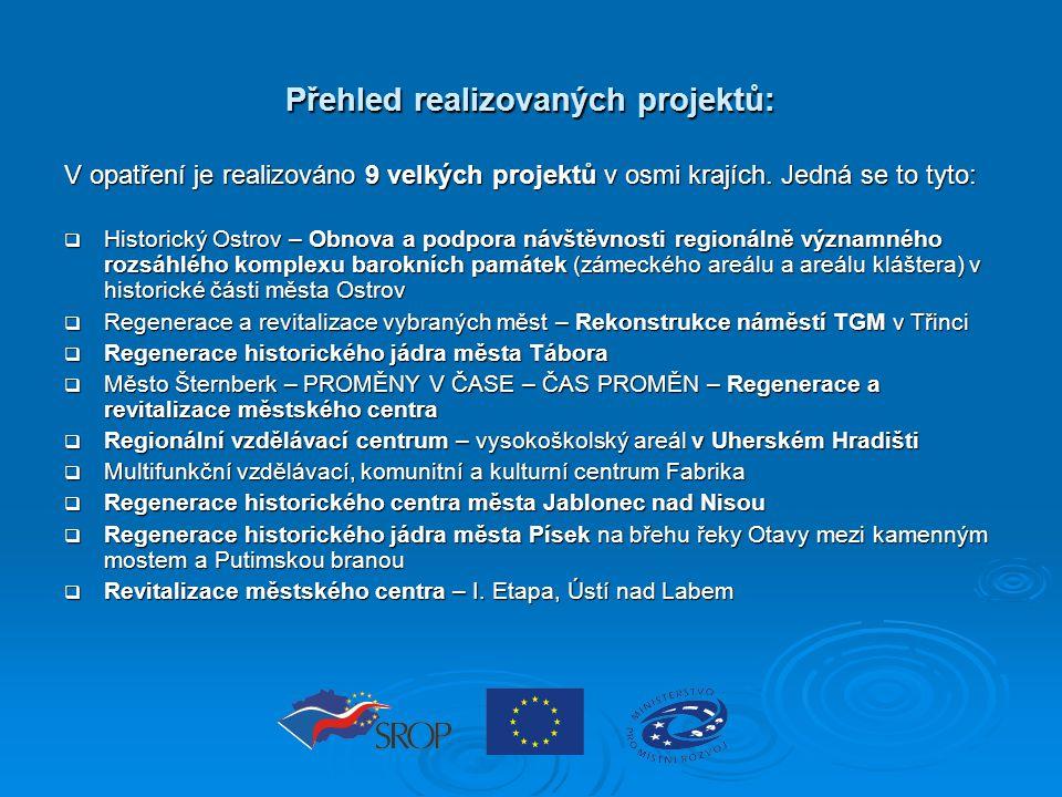 Přehled realizovaných projektů: V opatření je realizováno 9 velkých projektů v osmi krajích. Jedná se to tyto:  Historický Ostrov – Obnova a podpora