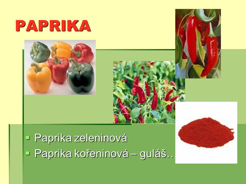 PAPRIKA  Paprika zeleninová  Paprika kořeninová – guláš…