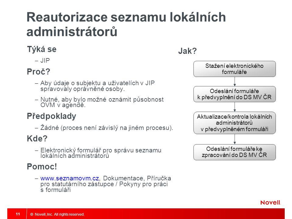 © Novell, Inc. All rights reserved. 11 Reautorizace seznamu lokálních administrátorů Týká se – JIP Proč? – Aby údaje o subjektu a uživatelích v JIP sp