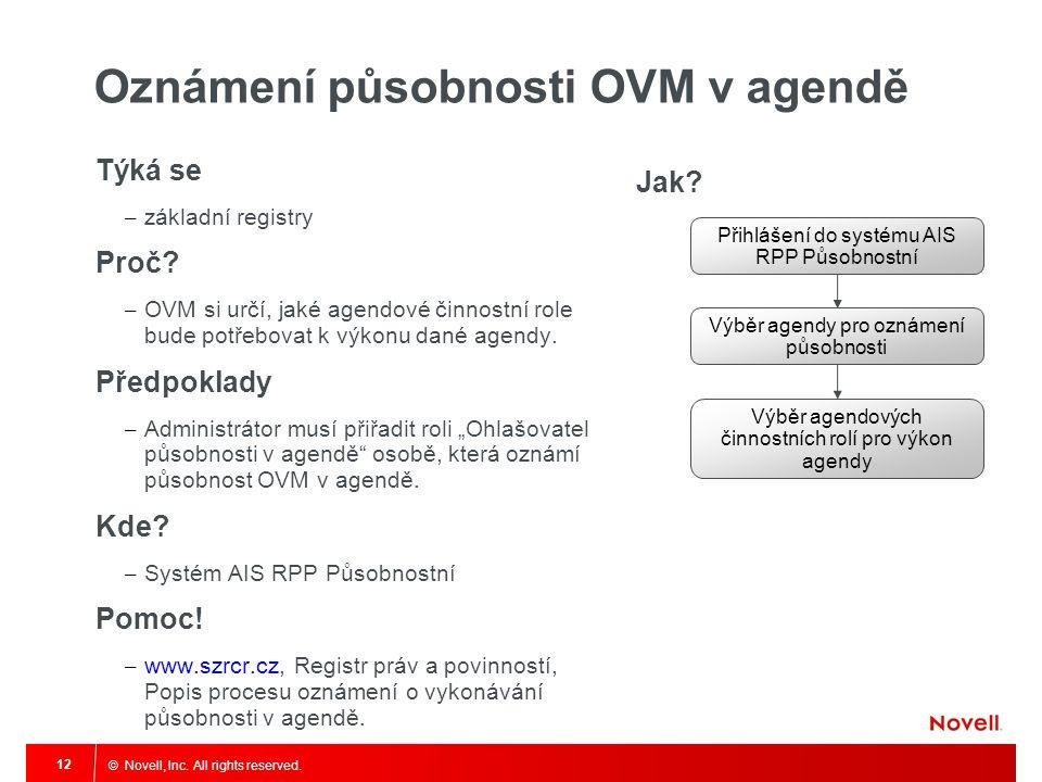 © Novell, Inc. All rights reserved. 12 Oznámení působnosti OVM v agendě Týká se – základní registry Proč? – OVM si určí, jaké agendové činnostní role