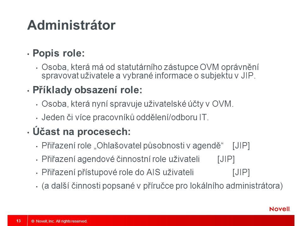 © Novell, Inc. All rights reserved. 13 Administrátor Popis role: Osoba, která má od statutárního zástupce OVM oprávnění spravovat uživatele a vybrané