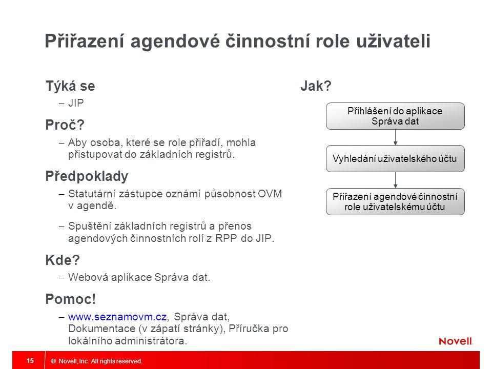 © Novell, Inc. All rights reserved. 15 Přiřazení agendové činnostní role uživateli Týká se – JIP Proč? – Aby osoba, které se role přiřadí, mohla přist