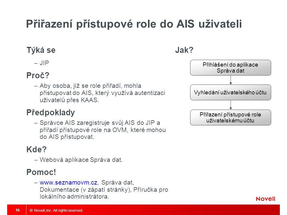 © Novell, Inc. All rights reserved. 16 Přiřazení přístupové role do AIS uživateli Týká se – JIP Proč? – Aby osoba, jíž se role přiřadí, mohla přistupo
