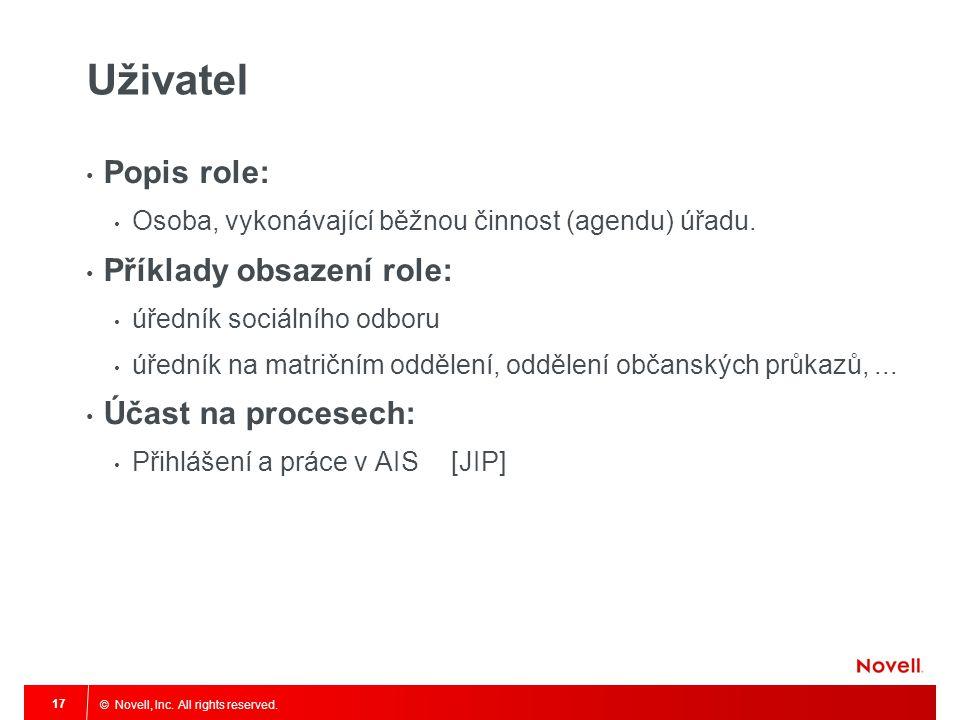 © Novell, Inc. All rights reserved. 17 Uživatel Popis role: Osoba, vykonávající běžnou činnost (agendu) úřadu. Příklady obsazení role: úředník sociáln