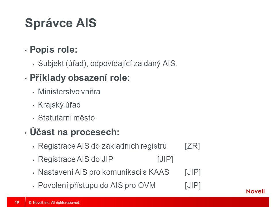 © Novell, Inc. All rights reserved. 19 Správce AIS Popis role: Subjekt (úřad), odpovídající za daný AIS. Příklady obsazení role: Ministerstvo vnitra K