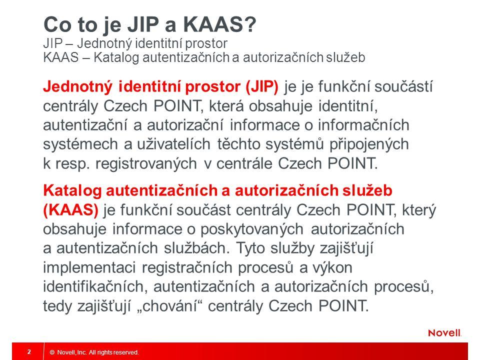 © Novell, Inc. All rights reserved. 2 Co to je JIP a KAAS? JIP – Jednotný identitní prostor KAAS – Katalog autentizačních a autorizačních služeb Jedno