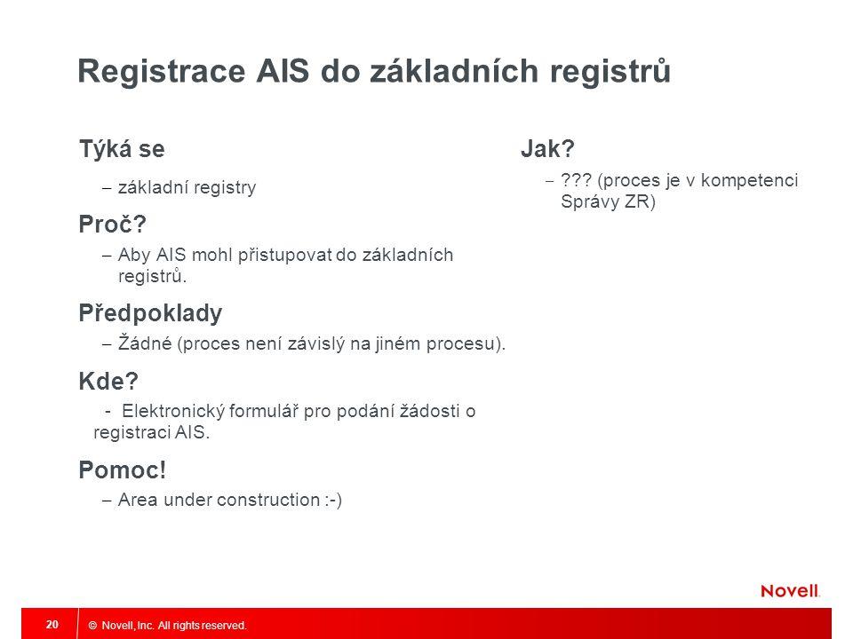 © Novell, Inc. All rights reserved. 20 Registrace AIS do základních registrů Týká se – základní registry Proč? – Aby AIS mohl přistupovat do základníc