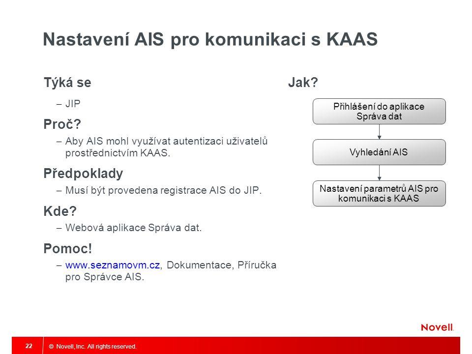 © Novell, Inc. All rights reserved. 22 Nastavení AIS pro komunikaci s KAAS Týká se – JIP Proč? – Aby AIS mohl využívat autentizaci uživatelů prostředn