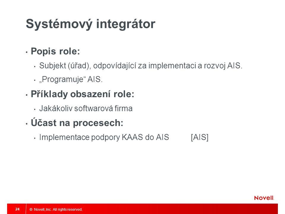 """© Novell, Inc. All rights reserved. 24 Systémový integrátor Popis role: Subjekt (úřad), odpovídající za implementaci a rozvoj AIS. """"Programuje"""" AIS. P"""