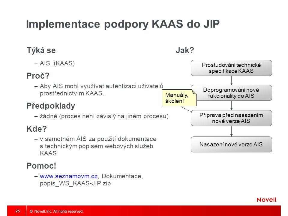 © Novell, Inc.All rights reserved. 25 Implementace podpory KAAS do JIP Týká se – AIS, (KAAS) Proč.