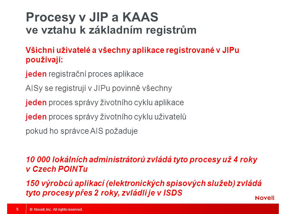 © Novell, Inc. All rights reserved. 5 Procesy v JIP a KAAS ve vztahu k základním registrům Všichni uživatelé a všechny aplikace registrované v JIPu po