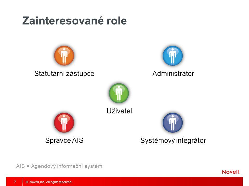 © Novell, Inc. All rights reserved. 7 Zainteresované role Statutární zástupce AdministrátorUživatelSprávce AISSystémový integrátor AIS = Agendový info