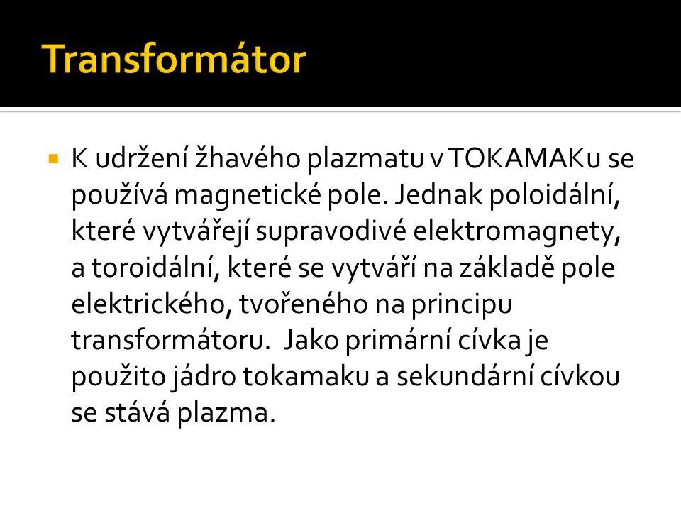  K udržení žhavého plazmatu v TOKAMAKu se používá magnetické pole. Jednak poloidální, které vytvářejí supravodivé elektromagnety, a toroidální, které