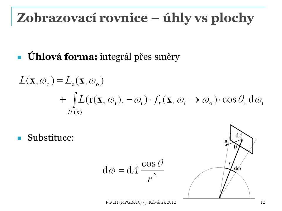 Zobrazovací rovnice – úhly vs plochy Úhlová forma: integrál přes směry Substituce: 12 PG III (NPGR010) - J. Křivánek 2012