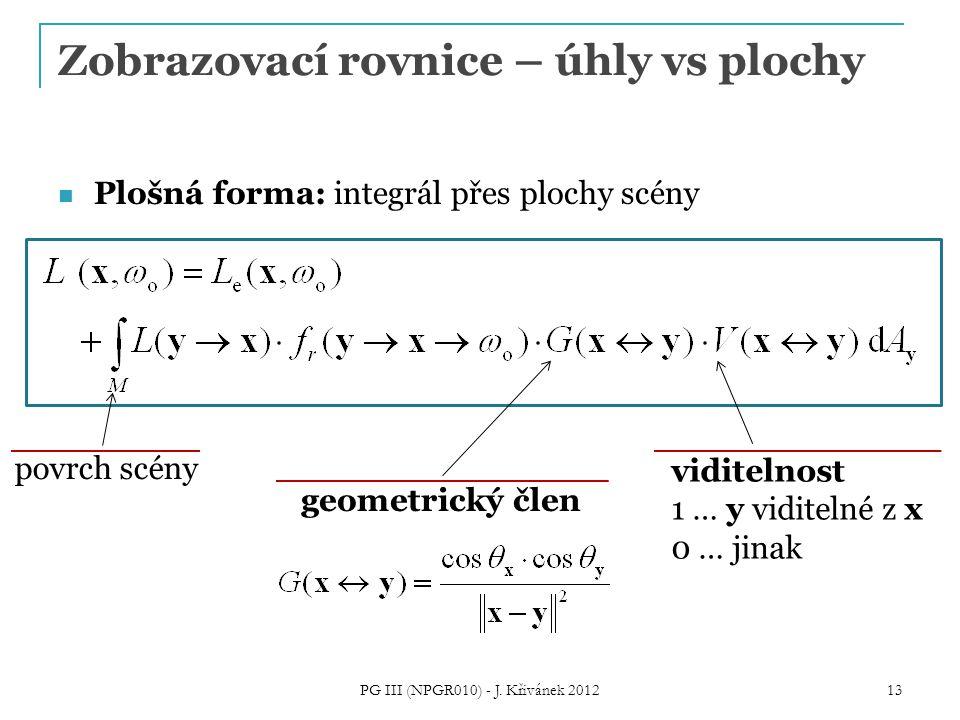 Zobrazovací rovnice – úhly vs plochy Plošná forma: integrál přes plochy scény viditelnost 1 … y viditelné z x 0 … jinak geometrický člen povrch scény 13 PG III (NPGR010) - J.