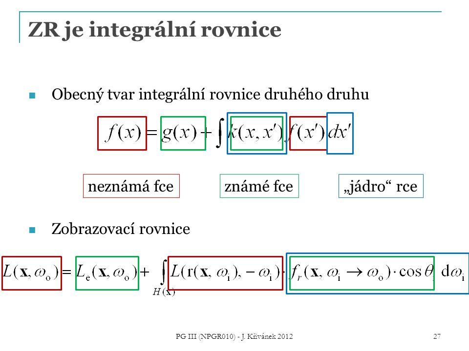 """ZR je integrální rovnice Obecný tvar integrální rovnice druhého druhu Zobrazovací rovnice neznámá fceznámé fce """"jádro rce 27 PG III (NPGR010) - J."""