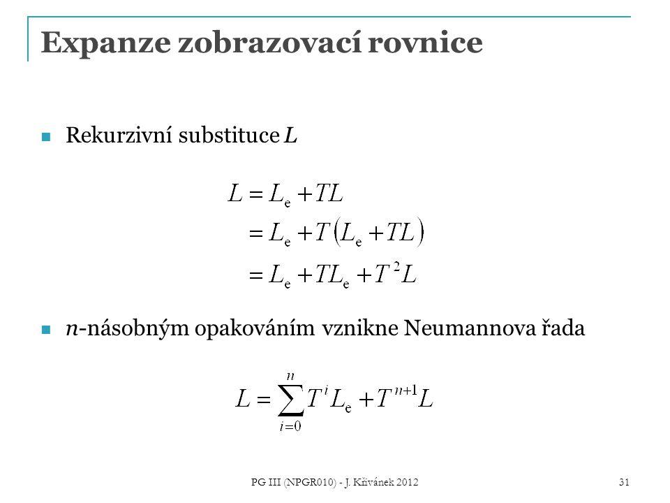 Expanze zobrazovací rovnice Rekurzivní substituce L n-násobným opakováním vznikne Neumannova řada PG III (NPGR010) - J. Křivánek 2012 31