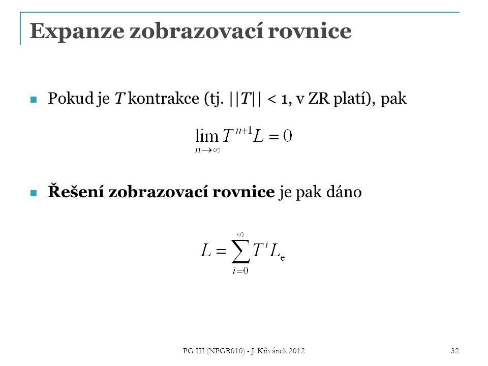 Expanze zobrazovací rovnice Pokud je T kontrakce (tj. ||T|| < 1, v ZR platí), pak Řešení zobrazovací rovnice je pak dáno PG III (NPGR010) - J. Křiváne