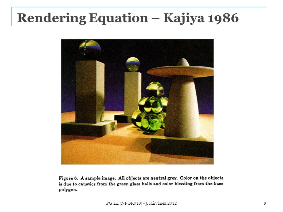Rendering Equation – Kajiya 1986 PG III (NPGR010) - J. Křivánek 2012 9