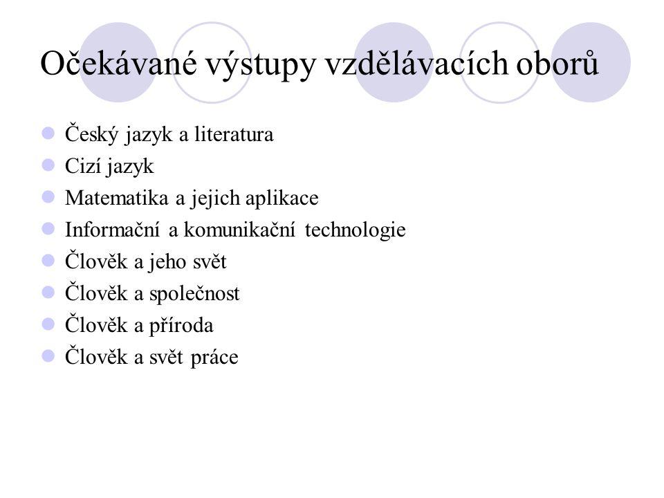 Očekávané výstupy vzdělávacích oborů Český jazyk a literatura Cizí jazyk Matematika a jejich aplikace Informační a komunikační technologie Člověk a je