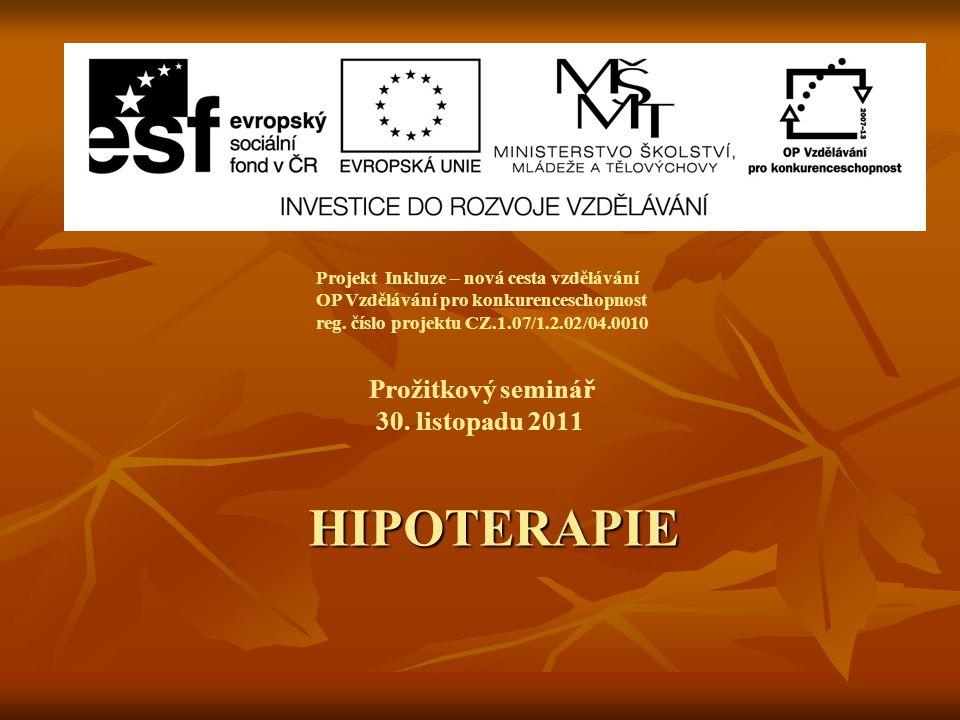 Prožitkový seminář 30. listopadu 2011 Projekt Inkluze – nová cesta vzdělávání OP Vzdělávání pro konkurenceschopnost reg. číslo projektu CZ.1.07/1.2.02