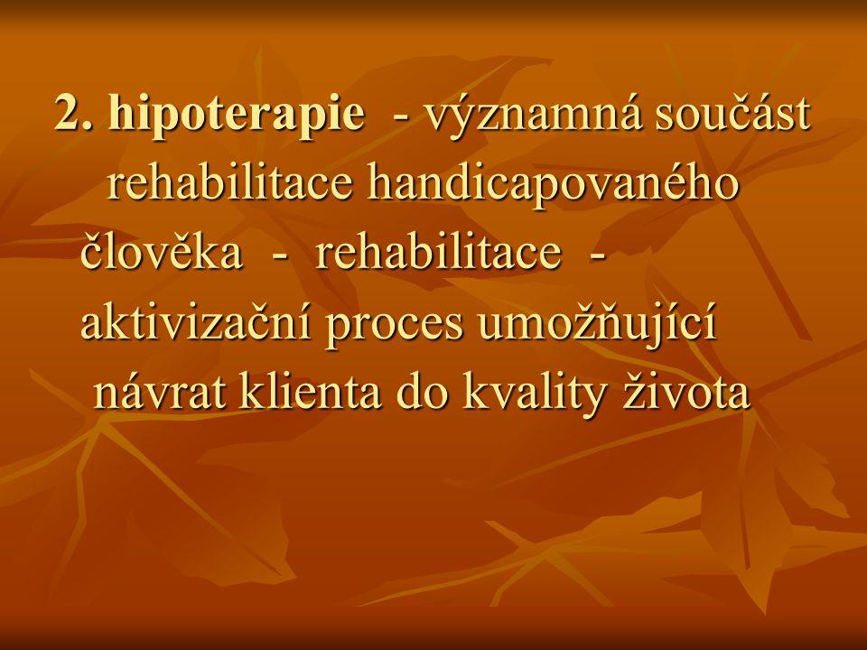 2. hipoterapie - významná součást rehabilitace handicapovaného rehabilitace handicapovaného člověka - rehabilitace - člověka - rehabilitace - aktiviza