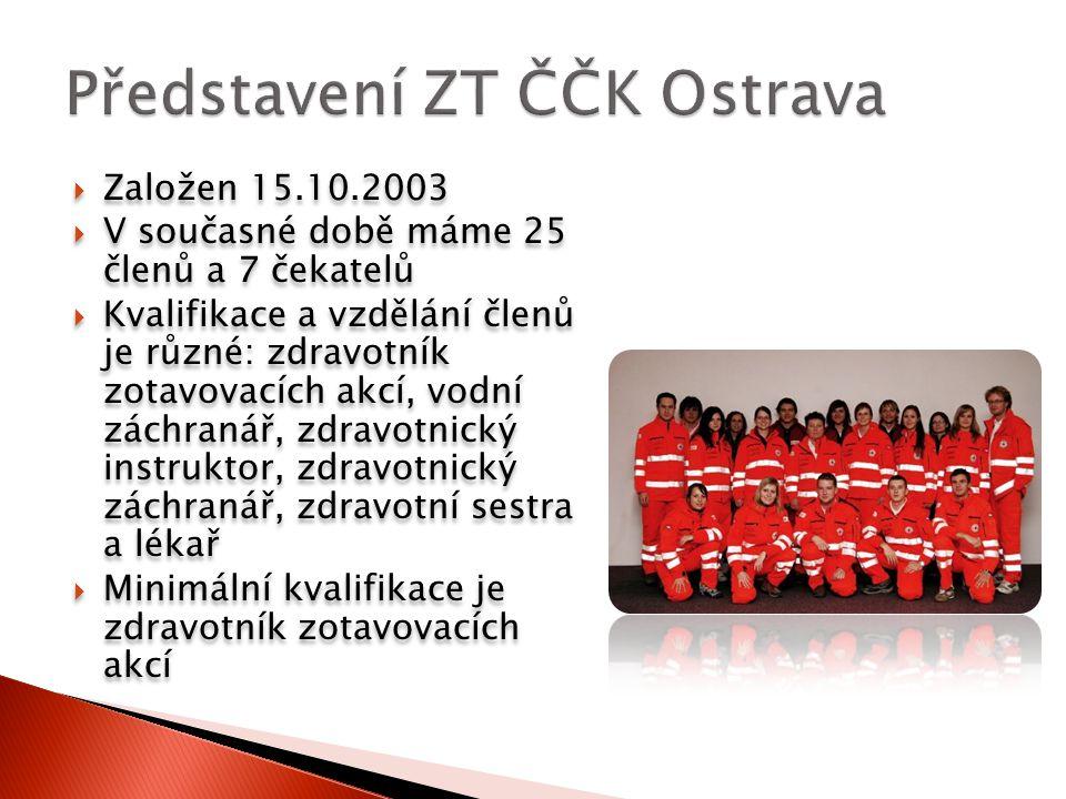  Hlavní činnosti týmu je zajišťování zdravotnických asistencí na sportovních, kulturních a společenských akcích  V roce 2009 jsme uskutečnili celkem 109 dozorů  Převážnou část dozorů, tvoří sportovní akce  Mezi nejvýznamnější akce, které každoročně zajišťujeme patří Colours of Ostrava, Janáčkův máj a Zlatá tretra
