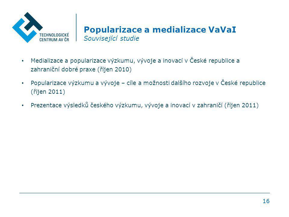 16 Popularizace a medializace VaVaI Související studie Medializace a popularizace výzkumu, vývoje a inovací v České republice a zahraniční dobré praxe