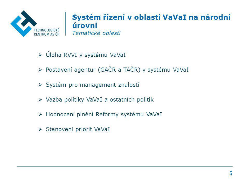 5 Systém řízení v oblasti VaVaI na národní úrovni Tematické oblasti  Úloha RVVI v systému VaVaI  Postavení agentur (GAČR a TAČR) v systému VaVaI  Systém pro management znalostí  Vazba politiky VaVaI a ostatních politik  Hodnocení plnění Reformy systému VaVaI  Stanovení priorit VaVaI