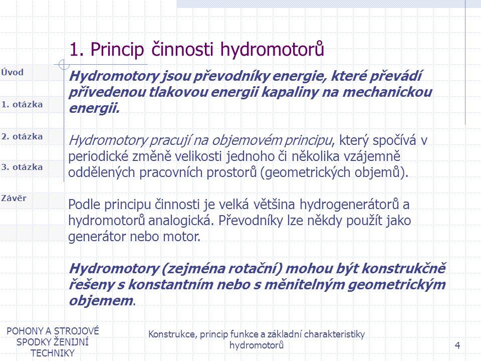 1. otázka 2. otázka Úvod Závěr 3. otázka POHONY A STROJOVÉ SPODKY ŽENIJNÍ TECHNIKY Konstrukce, princip funkce a základní charakteristiky hydromotorů 4