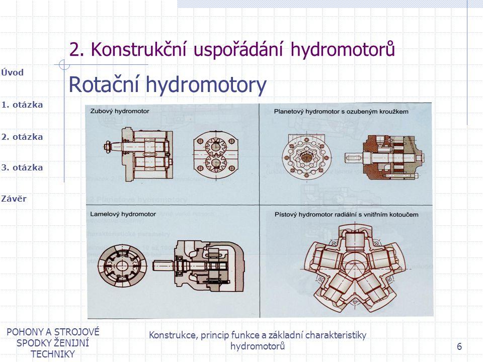 1. otázka 2. otázka Úvod Závěr 3. otázka POHONY A STROJOVÉ SPODKY ŽENIJNÍ TECHNIKY Konstrukce, princip funkce a základní charakteristiky hydromotorů 6