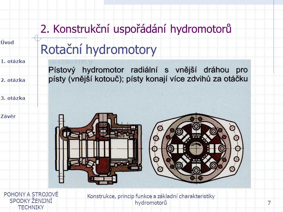 1. otázka 2. otázka Úvod Závěr 3. otázka POHONY A STROJOVÉ SPODKY ŽENIJNÍ TECHNIKY Konstrukce, princip funkce a základní charakteristiky hydromotorů 7