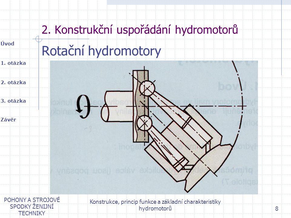 1. otázka 2. otázka Úvod Závěr 3. otázka POHONY A STROJOVÉ SPODKY ŽENIJNÍ TECHNIKY Konstrukce, princip funkce a základní charakteristiky hydromotorů 8