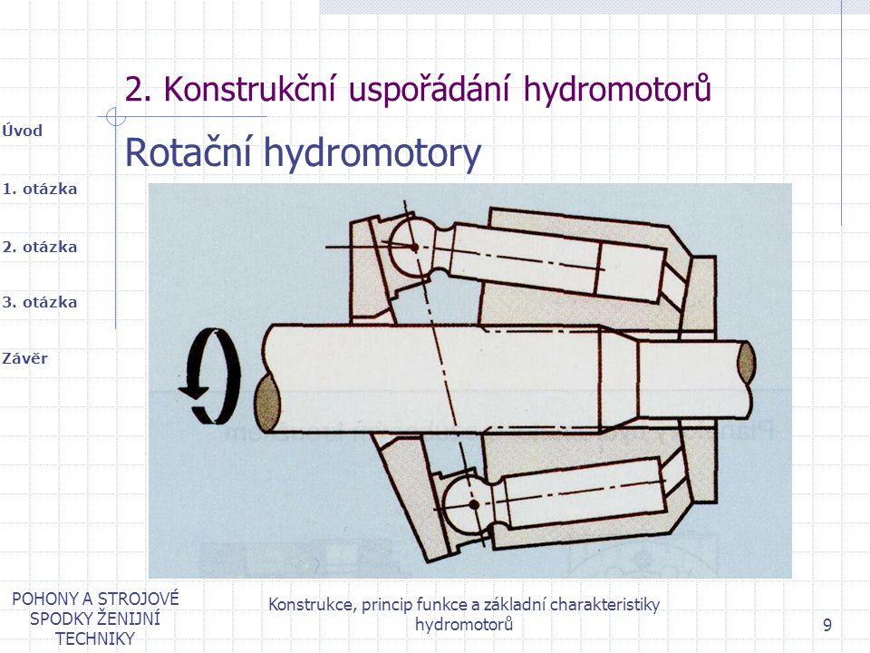 1. otázka 2. otázka Úvod Závěr 3. otázka POHONY A STROJOVÉ SPODKY ŽENIJNÍ TECHNIKY Konstrukce, princip funkce a základní charakteristiky hydromotorů 9