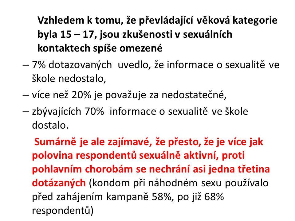 Vzhledem k tomu, že převládající věková kategorie byla 15 – 17, jsou zkušenosti v sexuálních kontaktech spíše omezené – 7% dotazovaných uvedlo, že informace o sexualitě ve škole nedostalo, – více než 20% je považuje za nedostatečné, – zbývajících 70% informace o sexualitě ve škole dostalo.