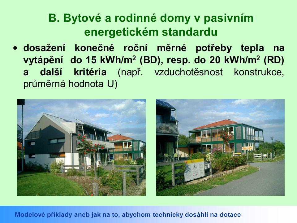 B. Bytové a rodinné domy v pasivním energetickém standardu dosažení konečné roční měrné potřeby tepla na vytápění do 15 kWh/m 2 (BD), resp. do 20 kWh/